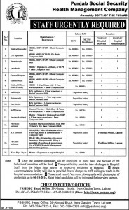 Medical Specialist Jobs in Punjab Social Security Health Management Company Lahore