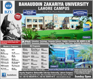 Bahauddin Zakariya University Lahore Campus Admission Notice 2014