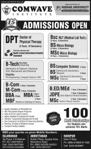 Comwave Institute of Science & Information Technology Islamabad Admission Notice 2014