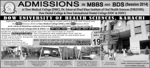 Dow University of Health Sciences Karachi Admission Notice 2014