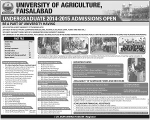 University of Agriculture Faisalabad Admission Notice 2014