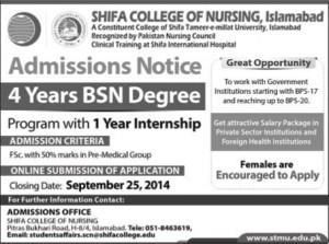 Shifa College of Nursing Islamabad Admission Notice 2014