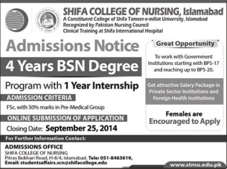 Shifa Tameer-e-Millat University (STMU) Islamabad, Shifa College of Nursing Islamabad Admission Notice 2014-2015 for Bachelor of Science in Nursing (BSN)
