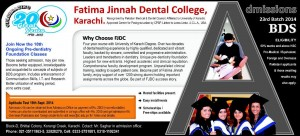 Fatima Jinnah Dental College Karachi Admission Notice 2014