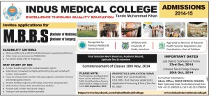 Indus Medical College Tando Muhammad Khan Admission Notice 2014