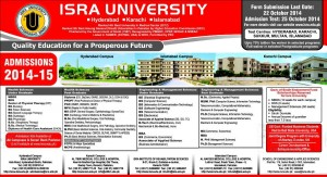 ISRA Institute of Rehabilitation Sciences Karachi Admission Notice 2014