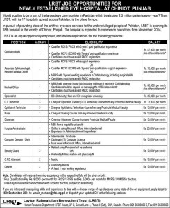 Optometrist, Ophthalmologist & Medical Officer Jobs in LRBT Chiniot