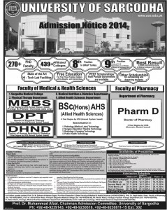 University of Sargodha Admission Notice 2014