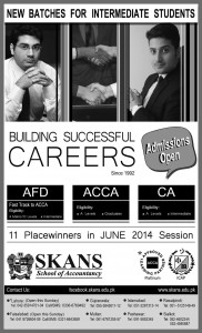 SKANS School of Accountancy Lahore Admission Notice 2014