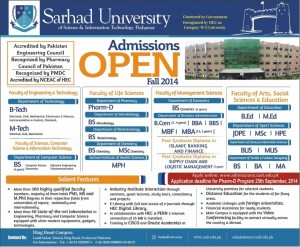 Sarhad University of Science & Information Technology Peshawar Admission Notice 2014