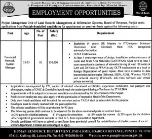Network Manager Jobs in Land Records Management & Information System Lahore