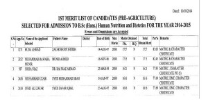 UAF 1st Merit List for B.Sc. (Hons.) Human Nutrition & Dietetics 2014