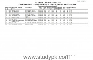 UAF 1st Merit List for DVM Urban Male 2014