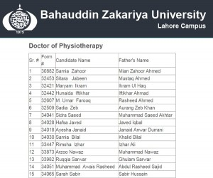 BZU Lahore 3rd Merit List for DPT 2014