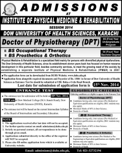 Institute of Physical Medicine & Rehabilitation Karachi Admission Notice 2015