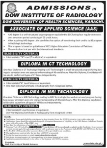Dow Institute of Radiology Karachi Admission Notice 2015