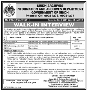 Conservator & Preservator Jobs in Sindh Archives karachi