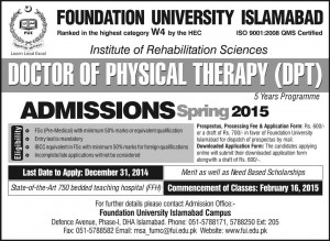 Foundation University Islamabad Admission Notice 2015