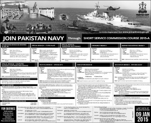 Join Pakistan Navy Through Short Service Commission Course 2015-A