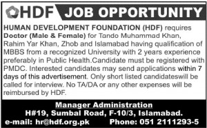 Doctors Jobs in Human Development Foundation Islamabad