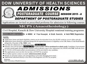 Dow University of Health Sciences MCPS Anaesthesiology Admission 2015
