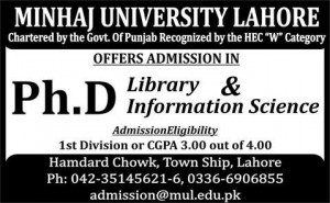 Minhaj University Lahore Admission Ph.D 2015