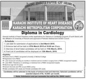 Karachi Institute of Heart Diseases Diploma in Cardiology Admission 2015