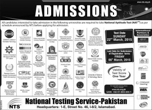National Testing Service Pakistan NAT Admission Test 2015