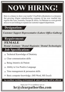 Dental Technologist Jobs in ClearPath Orthodontics Lahore