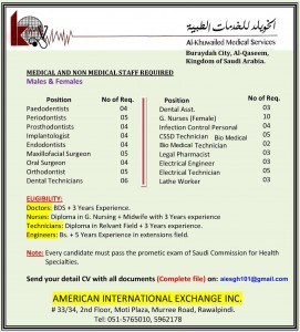Medical Staff Required at Al-Khuwailed Medical Services Buraidah City