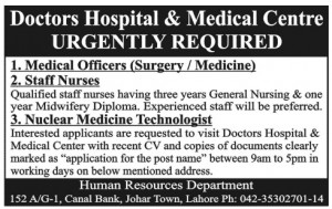 Nuclear Medicine Technologist Jobs in Doctors Hospital & Medical Centre Lahore