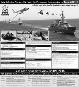 Join Pakistan Navy as PN Cadet for Permanent Commission in Term 2015-B