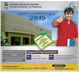 Textile Institute of Pakistan BSc Textile Design Admission 2015