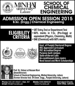 Minhaj University Lahore B.Sc. Chemical Engineering Admission 2015