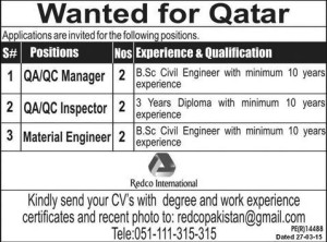 Quality Assurance/Control Manager & Inspector Wanted for Qatar