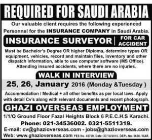 Insurance Surveyor For Car Accident Required for Saudi Arabia