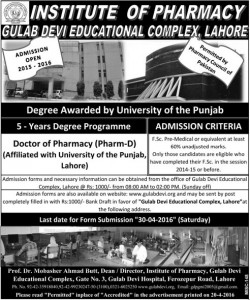 Gulab Devi Educational Complex Lahore Pharm-D Admission 2016