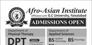 Afro-Asian Institute Lahore DPT Admission 2016