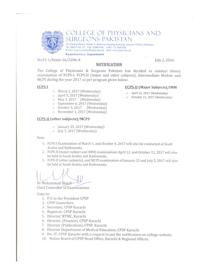 CPSP FCPS Part 1 & 2 Examination Schedule Calendar 2017