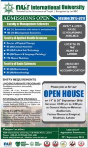 NUR International University DPT & BS (Hons) Admissions 2016-17