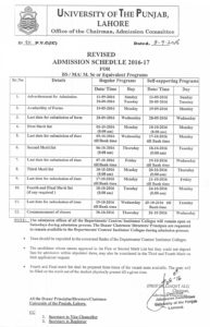 University of The Punjab Revised Admission Schedule 2016-17