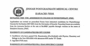 College of Physiotherapy JPMC Admission of DPT For Session 2017