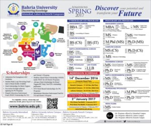 Bahria University Islamabad Admission Open Spring 2017