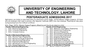 UET Lahore M.Sc. & M.Phil. Admissions 2017