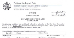 NCA Lahore Results Undergraduate Programs Academic Session 2017