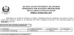 Quaid-i-Azam University Islamabad Admission Master's Programme 2017
