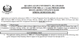 Quaid-i-Azam University Islamabad Admission MBA (1.5 Years) 2017