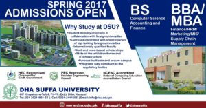 DHA Suffa University Karachi Admission Spring 2017