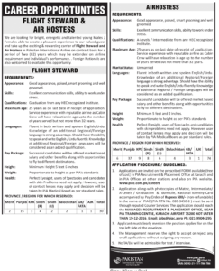 PIA Career Opportunity Flight Steward & Air hostess 2017