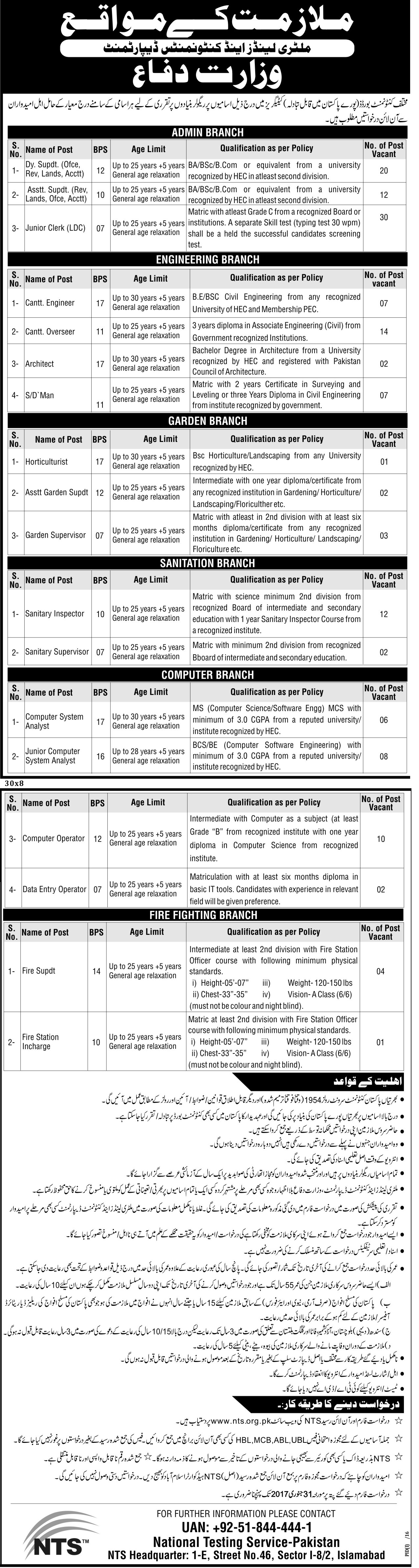 Military Lands & Cantonment Board Department Test 2017 for Various Jobs Posts